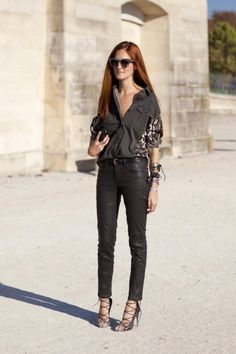 Taylor Tomasi Hill wearing leather pants (shop your perfect leather garments at www.bluegold.nl)