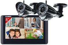 Wireless security camera system with 2 wireless cameras for indoor/outdoor use and a monitor.