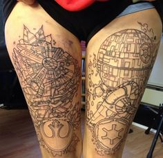 Star Wars legs tattoo