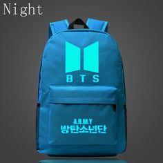 2017 Kpop BTS Bangtan Boys Luminous Backpacks New Logo Door ARMY Letter Backpack Student Schoolbag Shoulder Bag Fans Gifts