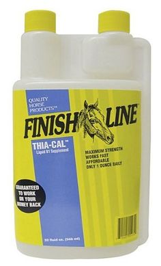 Finish Line Thia-Cal Liquid B1 Supplement, Size: 128 oz by Finish Line. $34.99. Finish Line Thia-Cal B1-Calcium Supplement is a powerful liquid supplement designed to calm nervous horses. Horses with a deficiency in thiamine or B1 will often act irrationally, lack focus or struggle to keep weight on, so give your horse what he needs to perform optimally with the Thia-Cal B1-Calcium Supplement. According to Finish Line, this supplement will not test positive in any ...