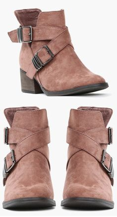 Taupe Buckle Ankle Boots