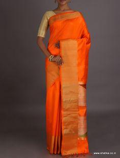Shalini Orange Broad Gold Border Geometric Pallu #DupionSilkSaree