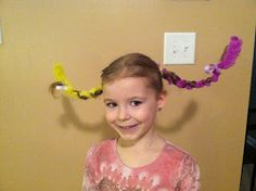 Crazy hair idea for school! Would also work for Dr. Seuss week – Crazy Hair – - Hair Styles For School Crazy Hat Day, Crazy Hair Day Girls, Crazy Hair For Kids, Crazy Hair Day At School, Days For Girls, Easy Toddler Hairstyles, Cute Hairstyles For Kids, Hairstyles For School, Little Girl Hairstyles