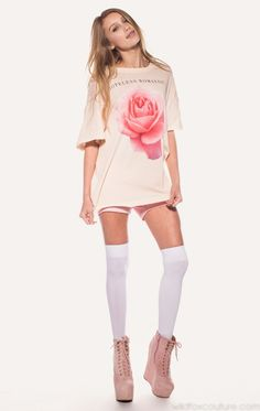 TRES ROSE FAVORITE T at Wildfox Couture in DIONNE, -CLEAN WHITE