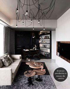 modern living room + pendant lights
