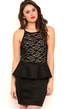 Deb Shops Peplum Prom Dress with Mock Tie Lace Neckline $25.55