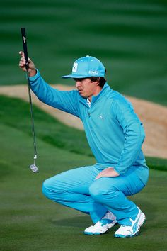 SCOTTSDALE, AZ - JANUARY Rickie Fowler plays a shot on the during the first round of the Waste Management Phoenix Open at TPC Scottsdale in Scottsdale, Arizona. (Photo by Sam Greenwood/Getty Images). Mens Golf Fashion, Mens Golf Outfit, Golf Attire, Golf Aids, Pga Tour Players, Rickie Fowler, I Laughed, Scottsdale Arizona, Management