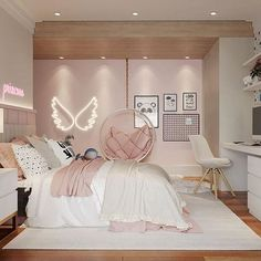 Cute Bedroom Decor, Bedroom Decor For Teen Girls, Room Design Bedroom, Girl Bedroom Designs, Stylish Bedroom, Small Room Bedroom, Bedroom Ideas, Luxury Kids Bedroom, Small Girls Bedrooms