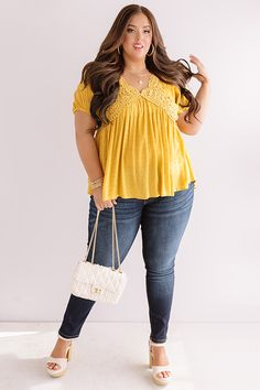Here's To Happiness Babydoll Top In Marigold Sunday Outfits, Be Your Own Kind Of Beautiful, Distressed Shorts, Curvy Outfits, V Cuts, Boutique Clothing, Lace Detail, Plus Size Fashion, Baby Dolls