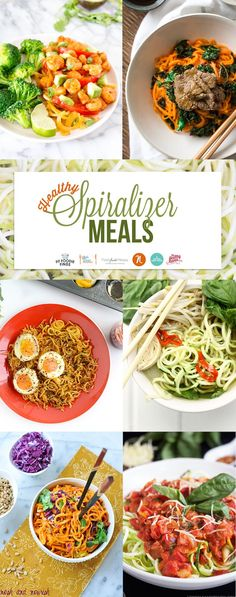 6 Healthy Spiralized Meals that replace standard pasta and noodles. From Pho to Chicken Alla Vodka, you'll be running out to buy your spiralizer ASAP!