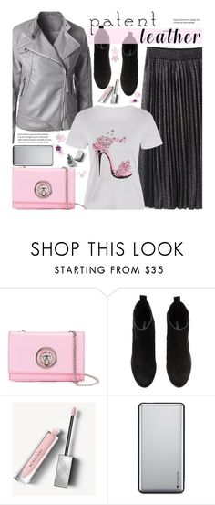 """""""Untitled #2598"""" by beebeely-look ❤ liked on Polyvore featuring Versus, H&M, Burberry, Mophie, StreetStyle, patentleather, pleatedskirts, sammydress and StreetChic"""