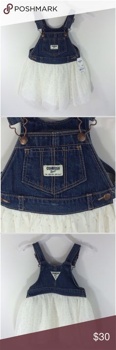 💝HOST PICK💝 Osh Kosh Overall Dress 💝Everything Kids Party Host Pick💝 Osh Kosh Overall Dress.  It has beautiful ivory Tulleing with specks of gold. This dress is absolutely stunning- the pictures don't show how lovely this dress is. Great for Graduation parties to Picnics in the Park. NWT Size 18 months Osh Kosh Dresses