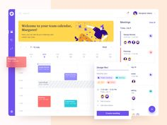 Dashboard - Meeting Scheduler designed by UGEM. Connect with them on Dribbble; the global community for designers and creative professionals. Dashboard Ui, Dashboard Design, Ui Ux Design, Graphic Design, Design Layouts, Flat Design, Team Calendar, Schedule Calendar, Web Design Tutorial