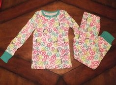 NWT Total Girl PEACE SIGN Print 2 Piece Thermal Underwear Set Girls Long Johns  #TotalGirl #ThermalLeggingsLongJohns