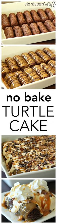 No Bake Turtle Cake from Six Sisters' Stuff | This No Bake Cake comes together in a matter of minutes - for those times when you need a quick dessert in your life.