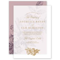 Vintage Rose Layered Vellum Invitation | Invitations By Dawn. A typography layout and rose blossoms come together in vintage style on this layered vellum wedding invitation. This invitation includes two pieces. The top layer is translucent vellum. The sheer nature of this paper allows the bottom layer to show through, creating a truly lovely presentation. The vellum is printed using thermography printing; a classic printing technique that results in raised lettering you can feel. The bottom…