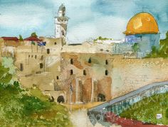 Israel Painting of Jerusalem Original watercolor by SchulmanArts, $175.00