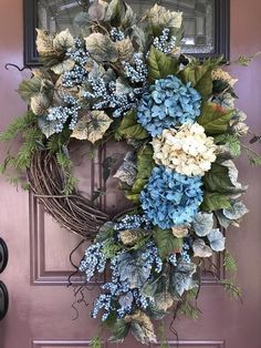 Wreaths For Front Door Don T Miss This Deal On Summer Wreath Turquiose Hydrangea Summer Door Wreaths, Fall Wreaths, Wreaths For Front Door, Christmas Wreaths, Christmas Decorations, Floral Wreaths, Diy Wreath, Grapevine Wreath, Wreath Ideas