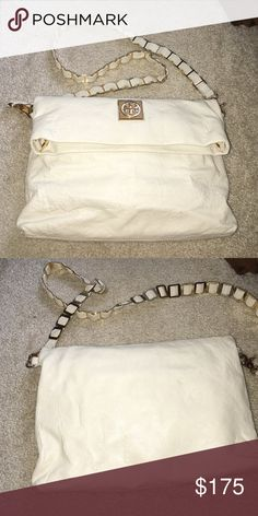Messenger bag Louisa messenger bag ivory leather with gold chain Tory Burch Bags Crossbody Bags