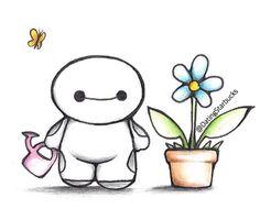 Baymax kawaii con su flor :D - Decor Cute Disney Drawings, Kawaii Drawings, Cute Drawings, Disney Love, Disney Art, Baymax Drawing, Citations Photo, Chibi, Tumblr Drawings