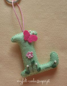 """Pinner said, """"My Felt.............thanks for share L is for Lydia on Lycie's Craft :)""""  you could do any letters and I love the embelishments."""