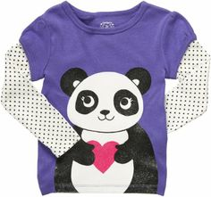 Carter's Baby Girl's Infant Layered Long Sleeve Shirt - Panda In Love - 12 Months / Amazon