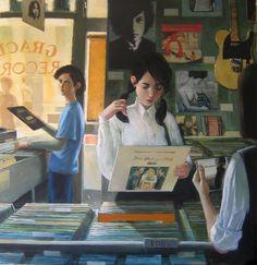 "Dvid Mellon — Record Store 34"" x 35"""