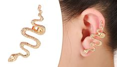 Golden Snake Cuff Earring Try a trendy new look with Ear Cuff Wrap Earrings Snake Stud Earrings      Eye-catching, clip-on statement earring jewellery      Features sophisticated snake design with gold plated detail      Length: 20mm      Clips onto ear