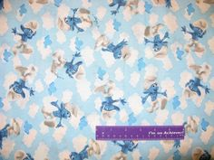 "The Smurfs Sky Cloud Cartoon Movie TV Show Smurf Cotton Fabric REMNANT 10"" x 43"" by DaMommasTextiles on Etsy"