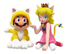 Cat Mario and Cat Peach by BradMan267