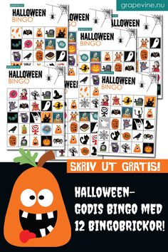 Nu är höstens största fest – Halloween – nära! För varje år känns det som denna, ändå ganska nya, tradition blir allt större och för barnen är den en självklarhet! Det ska pyntas, pysslas och ordnas Halloweenfest – som för alla stora högtider! Ladda hem & skriv ut gratis! Vi bjuder på vårt härliga Halloweenkit! Beställ det som vanligt på grapevine.nu och skriv in rabattkoden HALLOWEENGODIS när du kommer till kassan (i fältet för rabattkod). Ladda hem och pyssla loss! Bingo Halloween, Halloween Kostüm, Grape Vines, Comics, Prints, Movie Posters, Film Poster, Vineyard Vines, Popcorn Posters