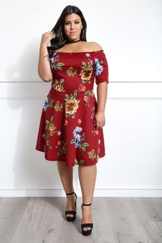 $23.99--BURGUNDY--Like A Sweetheart Plus Size Floral Dress Dresses+ GS-LOVE
