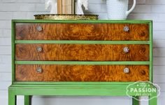 My Passion For Decor:  Asian inspired cabinet makeover using Chalk Paint™ decorative paint by Annie Sloan in Antibes Green.  #makeover #anniesloan #anniesloanunfolded #unfolded #antibesgreen #paintedfurniture #green #crystal #twotone