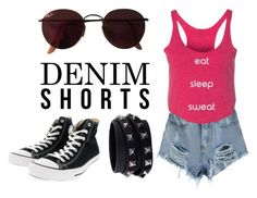 """""""Everyday Summer Heat"""" by chocolatefig on Polyvore featuring Converse, Ray-Ban, Valentino, jeanshorts, denimshorts and cutoffs Cutoffs, Shorts, Summer Heat, Design Shop, Fig, Valentino, Converse, Chocolate, Shoe Bag"""