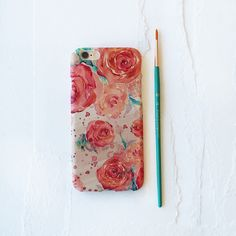Coral Tea Rose Watercolor Cell Phone Case