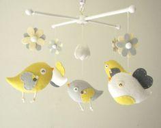 """Cuna móvil, móvil Bird, sintió móvil, móvil vivero, móvil del bebé, """"Bird - amarillo y gris"""""""