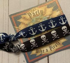TWO ADORABLE and funky Pirate themed hair ties! ♥ You will receive BOTH. the Skull and Crossbones printed elastic AND the cutest Anchor printed elastic hair tie! Pirate Party Favors, Bachelorette Party Favors, Pirate Theme, Birthday Party Favors, Birthday Parties, Pirate Hair, Anchor Print, Elastic Hair Ties, Skull And Crossbones