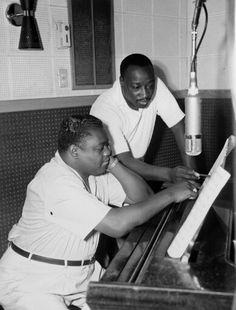 Fats Domino at the piano with producer Dave Bartholomew and a Telefunken U47, Circa 1955-'58