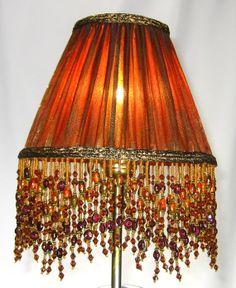 Handmade Pair Table Lamp Shades Pleated Burnt Orange Silk Custom Nyc