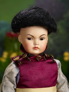 """""""I Only Wanted to Wonder"""" - August 1, 2017: 338 Sonneberg Bisque Doll as Asian Child, Model 220, by Bahr and Proschild, Unique Body"""