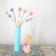 Pastel blue Vase with pink pom pom flowers - Lace imprint - Wool felt balls - Nursery decoration - Clay vase - Pompom - Small floral bouquet by berryisland on Etsy