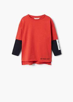 30e5b2b82 Camiseta mangas contraste Mango, Sweatshirts, Sweaters, T Shirt, Fashion,  Full Sleeves