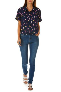 Ice Lolly Print Blouse - Navy Image