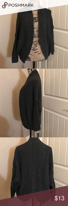 Dark Gray Cardigan (No Brand) Cute dark warm Cardigan. Cute V cut in the back design. Worn 1 time and dry cleaned and bag kept. Just isn't the right fit on me. Size small and true to size. No tears, stains, picks or wear at all. Sweaters Cardigans