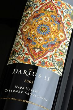 Darioush Darius II Napa Valley Cabernet Sauvignon. 2005 label derived from a detail of Khameh-Duzi silk-embroidered broad cloth curtain from 18th century Rasht.
