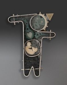 Thomas Mann. brooch: silver, acryclic, micarta, brass, found objects, assembled with cold connections