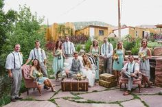 What a darling wedding party shot with some great vintage pieces! Vintage Rentals Vintage Wedding