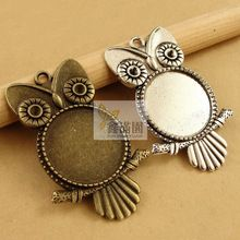 30 pieceslot to fit 20mm round cabochon antique vintage owl metalclay