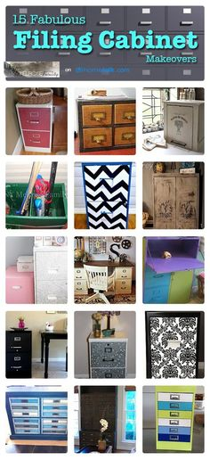 Filing Cabinet Makeovers... do the chevron one for our classroom